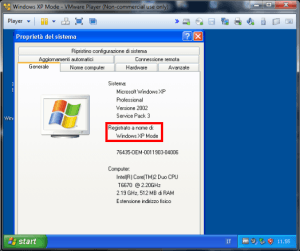 xp mode eseguito con vmware player